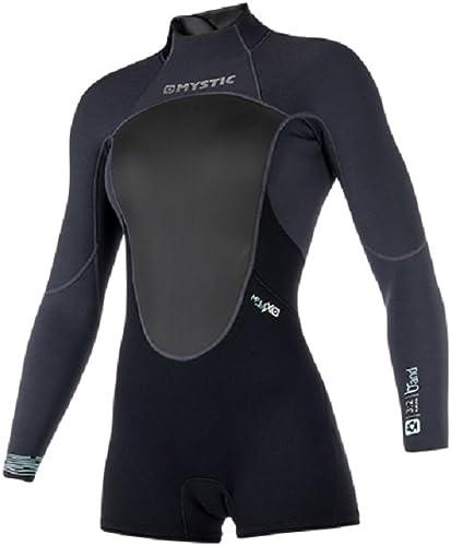 2018 Mystic femmes Brand 3 2mm Back Zip Long Arm courtey Wetsuit noir 180070