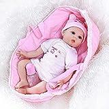 WEHQ Rebirth Doll, Juguetes para niños Reborn22inch 55cm Cuna Reborn Baby con Saco de Dormir Sweet Baby Face Realisitc Baby Girl Hand Rooted Hair Weighted Doll