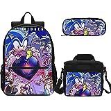 XINKONG Sonic mochila Sonic el erizo de dibujos animados mochila niñas escuela mochila niña mochila niños al aire libre mochila mensajero bolsa almuerzo