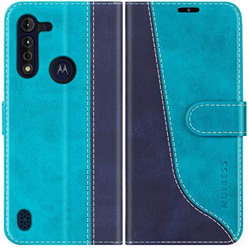 Mulbess Handyhülle für Motorola Moto G8 Power Lite Hülle Leder, Motorola Moto G8 Power Lite Handy Hüllen, Modisch Flip Handytasche Schutzhülle für Motorola Moto G8 Power Lite, Mint Blau