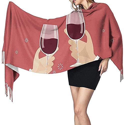Bufanda Chal Envuelve Bufanda de cachemira Día de San Valentín Hombre y mujer Brindando copas de vino Bufanda grande Súper suave Cálido para mujeres