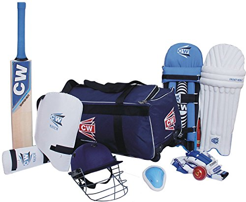 CW Junior Sports Academy Team Cricket Kit Blauw Maat 5, Ideaal voor 9-10 jaar kind (Grote tas Cricket Bat,Helm, Abdominale Garde, Lederen bal, Batting handschoenen, Beenbescherming, Arm & Thigh Guard)