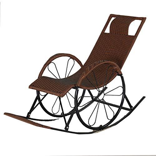 DYQTY Chaise Longue de Jardin inclinable Korbstuhl Schaukelstuhl Liegestuhl Haushalt Schaukelstuhl Für Erwachsene Älterer Stuhl Sessel Nap Stuhl Balkon Freizeitstuhl Fauler Stuhl (Color : B)