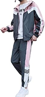 desolateness Men Zipper Jacket Trousers Hoode Casual Leisure Sport Sweat Suit Sets Pink US X-L=China 2XL