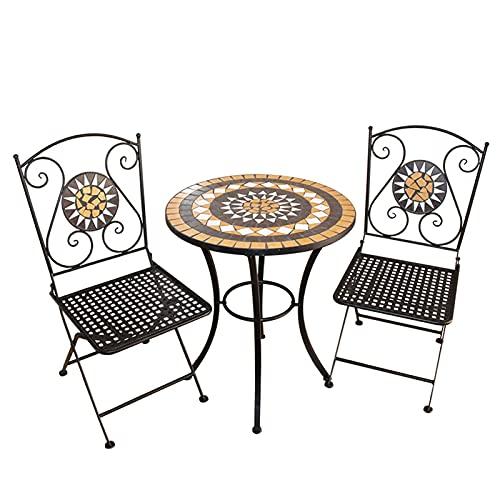 Juego de mesas y sillas plegables de 3 piezas, marco de metal...