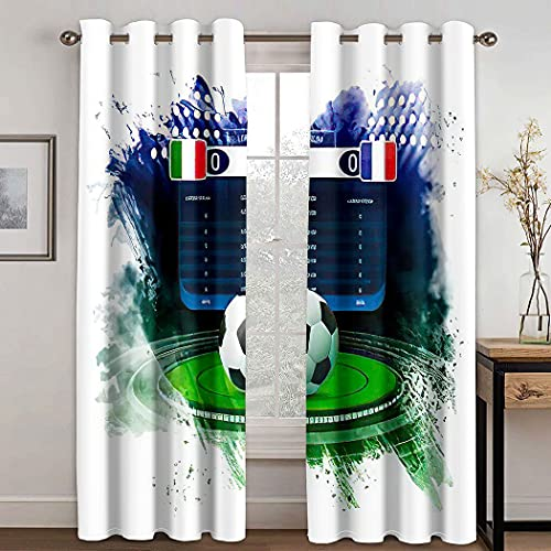 Soccer Blackout Curtain,Soccer Football Stadium Spotlight and Scoreboard Light Thermal Soundproof for Window Drapes for Living Room Darkening,2 Panels,108X96 Inches
