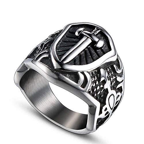 Nordic Viking Shield Cross Ring-Herren Edelstahl Kreuzritter Schwert Mittelalterlichen Ring, Klassische Siegelband Schmuck, Herrenmode Religiösen Charme Vintage Ringe,Silver,11