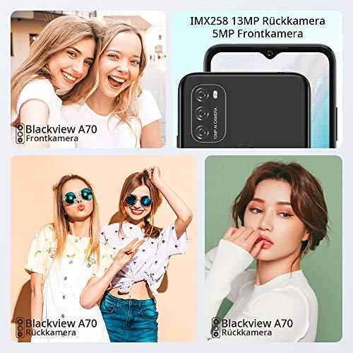 Blackview A70 (E) Smartphone ohne Vertrag Android 11, 6.517 Zoll HD mit 5V/2A, 3GB RAM+32GB Speicher Octa-core, 13MP+5MP Kamera, Fingerabdruck Sensor, 4G Handy Dual SIM Schwarz - 6