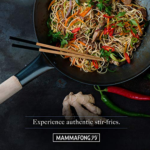 Product Image 7: Pre Seasoned Blue Carbon Steel Flat Bottom Wok -14 Inch Chinese Pow Wok – Traditionally Hand Hammered Woks and Stir Fry Pans by Mammafong