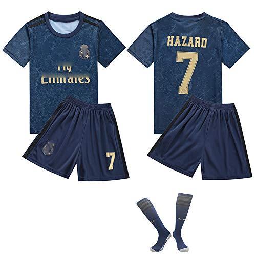 CHSC # 10# 7 Hazard Fußballuniform Trikot Trikotset Jersey,Outfit Kinder Kurzarm Shorts Socken Trainingsbekleidung Wettbewerb Fan-Ausgabenweste 1 Set Dark blue-26