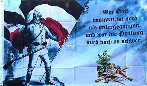 U24 Flagge Fahne Kaiserreich - Wer Gott vertraut Deutschland 90 x 150 cm