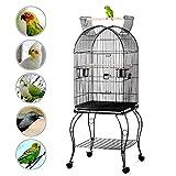 Yaheetech Gabbia Voliera per Uccelli pappagalli con Carrello e Tetto Apribile in Metallo e Legno Nera 59 x 59 x 150 cm