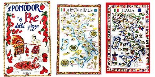 Generico Ricivi 3 Geschirrtücher auf Foto 85 x 55 cm, viele Modelle AT Pasta Italia Capri Limoncello Sorrento Paprikini Capri Napoli Pasta Pizza und Schlüsselanhänger Amulett