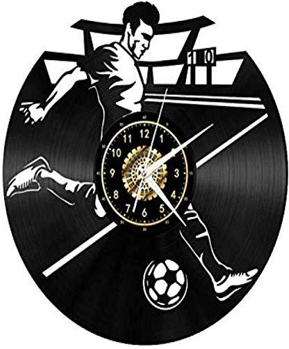 TIANZly Vinilo Reloj de Pared Fútbol Ambiente Retro Silueta Registro Hecho a Mano Inicio Ar
