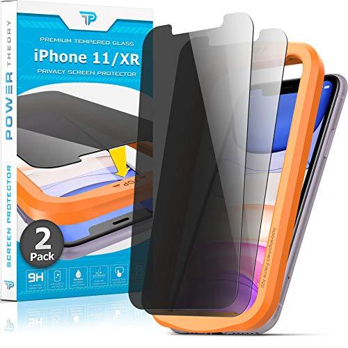 Power Theory Sichtschutz Panzerglasfolie für iPhone 11/iPhone XR [2 Stück] - Sichtschutzfolie mit Schablone, Schutzfolie, Panzerglas, Panzerfolie, Glas Folie, Displayschutzfolie, Schutzglas