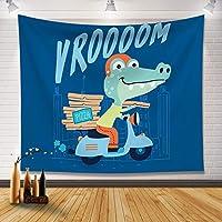 0.7-2M漫画かわいい壁装材背景布インハンギングクロス北欧の寝室の部屋の装飾タペストリー-恐竜02_2.0M * 1.5M