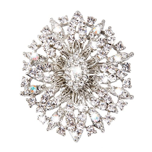 Broche Cristalino Ovalada Flor Diamantes de Imitación para Novia Boda Nupcial