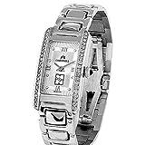 Reloj oro blanco 18k Cromwell mujer bisel indicadores diamantes brillantes esfera blanca rectangular