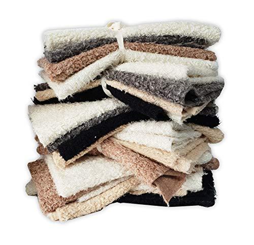 Fellstoff, Pelzimitat, künstliche Schafwolle, Fleece, dicke Quadrate, Reste-Bündel, Neotrims Verschiedene Farben, 4 Stück pro Bündel, 75 x 40 cm, Fat Squares. -