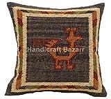 Handwerk Bazar Indische Set 2 fundas de almohada de 18 x 18 cm Decorativa de la India, funda de cojín Boho, yute Outdoor almohada, Bohemian Kissenbezug