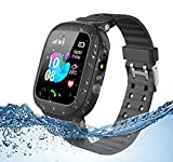 Jsbaby Kids smartwatch Waterproof for Children with SOS Two Ways Calls Girls and Boys Birthday Gift (Black)