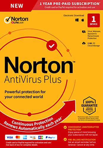 Norton AntiVirus Plus – Antivirus Software for 1 Device with Auto-Renewal - Includes Password Manager, Smart Firewall and PC Cloud Backup - 2020 Ready [Key Card]