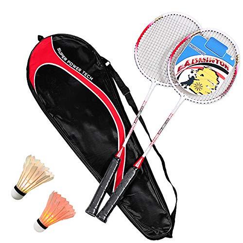 Badminton Federball Set Badmintonschläger Leichtgewicht Badminton Schläger Federballschläger Ultraleichte Federballschläger mit 2 LED Badminton Bälle für Sport und Unterhaltung