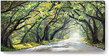 YJY Forest Path Canvas Prints 48x24 Framed Wall Art
