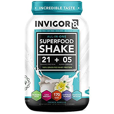 INVIGOR8 Superfood Protein Powder - Organic Grass-Fed Whey Non GMO Nutritional Shake with Green Veggie Complex and Cognitive Enhancers (645 Grams) (French Vanilla)