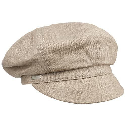 Seeberger Hannah Ballonmütze Damencap Newsboy-Mütze Leinencap Baumwollcap (One Size - beige)