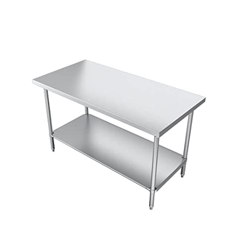 16 Gauge 300 Series Stainless Steel 30X36 OA Elkay Foodservice Chefs Choice Work Table Flat Top Stainless Legs With Adjustable 1 Feet NSF Certified Stainless Undershelf Turned Down Table Edge 36 Working Height
