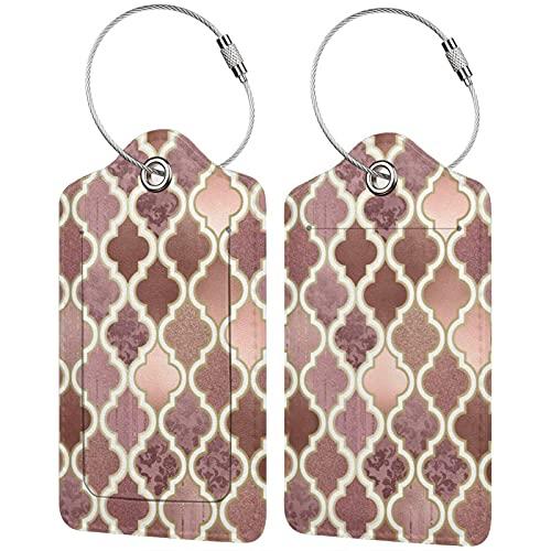 2 etiquetas de equipaje, etiquetas de cuero de la PU, etiquetas de la cubierta de privacidad con lazo de acero inoxidable para bolsa de viaje, maleta, rosa rosa y cobre azulejo marroquí