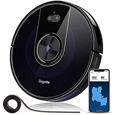 "Robot Vacuum, Bagotte 2200Pa & Map Robotic Vacuum Cleaner: Wi-Fi Connectivity, 2.7"" Super-Thin, Methodical Cleaning, Scheduling, Boundary Strips for Pet Hair,Hardwood Floors & Carpets"