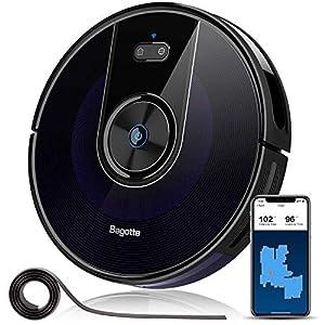 Bagotte BG800 Robot Vacuum Cleaner, Wi-Fi Connected, Map, Upgraded 2200Pa Suction Robotic Vacuum, Alexa & App Control, Smart Navigation, Super-Thin, Self-Charging, for Pet Hair, Carpets, Hard Floors