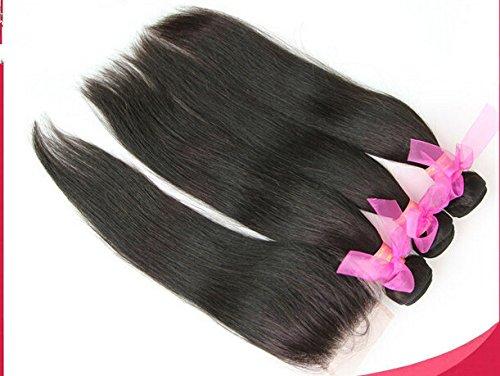 "Cheap 8A Free Part Lace Closure With Bundles Straight Indian Virgin Hair Bundle Deals 3Bundles And Closure Natural Color12""closure+18""18""20""weft"