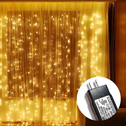Window Curtain String Lights 300 LED, Wenscha LED Fairy String Lights with 8 Modes, 10x10Feet 300 LEDs with 110V UL Powered, Decorative Bedroom, Garden, Parties, Wedding - Warm White