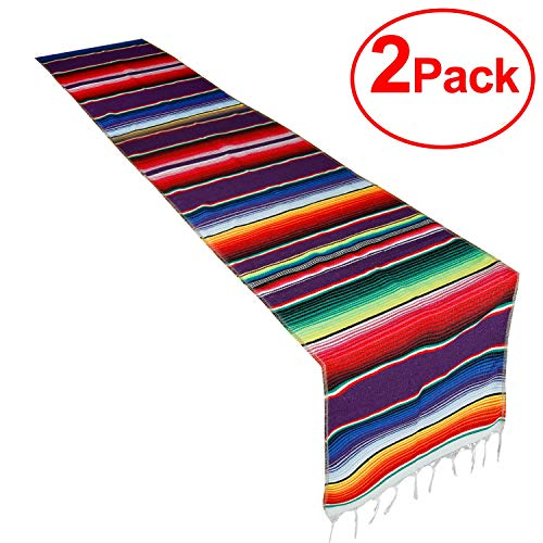 CRJHNS Table Runner Mexican Handwoven Cotton Serape for Fiesta Party Wedding and Home Decorations,14x84 Inch (14x84/2 Pack)