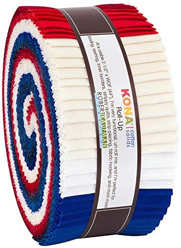 "Robert Kaufman Kona Cotton Solids Patriotic Roll Up 2.5"" Precut Cotton Fabric Quilting Strips Jelly Roll Assortment RU-779-40"