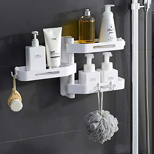 Bluelliant 三層浴室ラック、調味料収納ラック、回転可能、水切り、任意の切り替え、強力粘着式壁掛けシャワーラック 、バス用品/洗面所/歯ブラシ/ヘアドライヤー/お風呂場/キッチン収納ラック