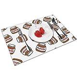 NB Set di 4 tovagliette per tavolo da pranzo, con motivo Nutella, lavabili per la cucina e la cena, morbidi e leggeri