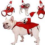 Fansport Navidad Ropa para Mascotas,Ajustables Gato Ropa Disfraz para Perros de Lindo Santa Adecuado para Navidad,Fiesta(Gato y Cachorro)