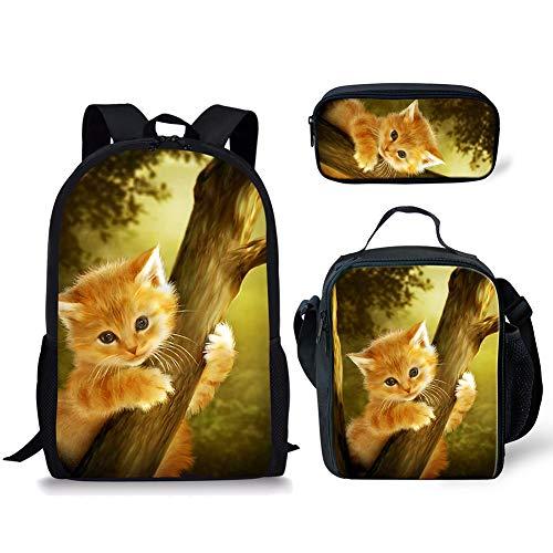 Sapotip Mochila de animales para niños y niñas, adolescentes, duradera de 17 pulgadas, mochila escolar con estampado de gatitos de gato, 3 unidades