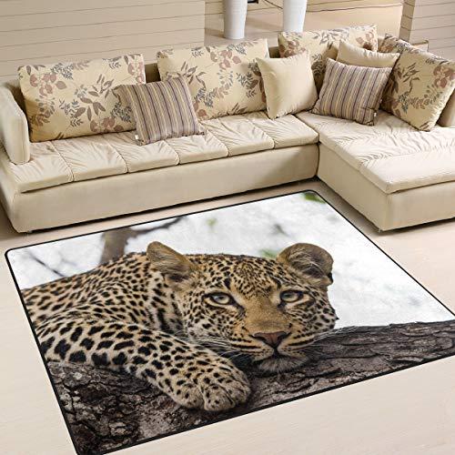 Use7 Alfombra con diseño de Leopardo en árbol Paisaje Natural para Sala de Estar, Dormitorio, Tela, 203cm x 173.3cm(7 x 5 Feet)