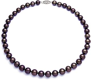 7-7.5mm Dark Cocoa Freshwater Cultured Pearl Necklace for Women AAAA Quality with Sterling Silver Clasp - PremiumPearl