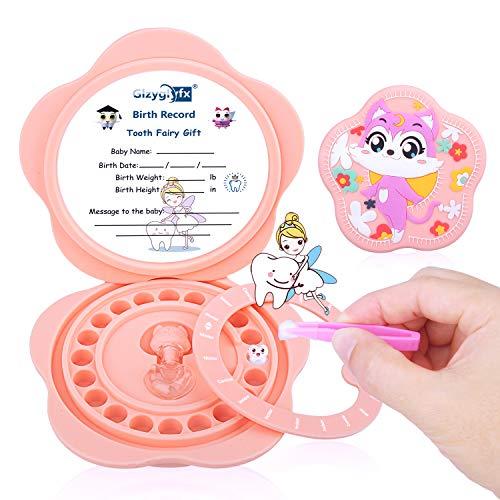 Scatola per denti per bebè, materiale in silicone per bambini, organizer per bambini per denti da latte, simpatico contenitore per denti per bambini, con pinzette e bottiglia (Rosa)