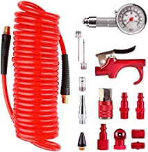 Hromee 16 Pieces Air Compressor Accessory Kit with 1/4 Inch Recoil Poly Air Hose, Blow Gun and Fittings Inflation Kit with Needles, Ball Chuck and Tire Pressure Gauge