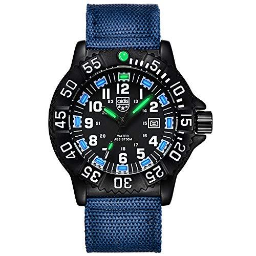 Reloj Deportivo multifunción para Hombres Reloj Luminoso para Deportes al Aire Libre Reloj analógico-Digital con Correa de Nylon Reloj de Pulsera Impermeable de 50 m