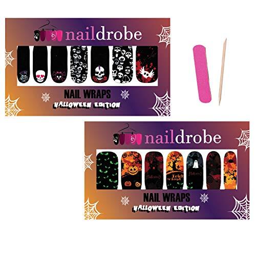 Naildrobe 2 PACK Halloween Nail Wrap Set PLUS File and Orange Wood Stick