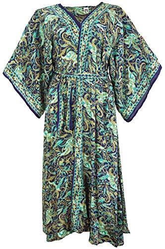 Guru-Shop Langer Kimono im Japan Style, Kimono Mantel, Kimonokleid, Damen, Türkis, Synthetisch, Size:38, Lange & Midi-Kleider Alternative Bekleidung