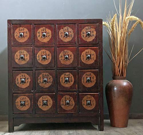 OPIUM OUTLET Chinesische Apotheker-Kommode Kästchen Schubladen-Schrank aus Holz Vintage-Stil antik asiatisch